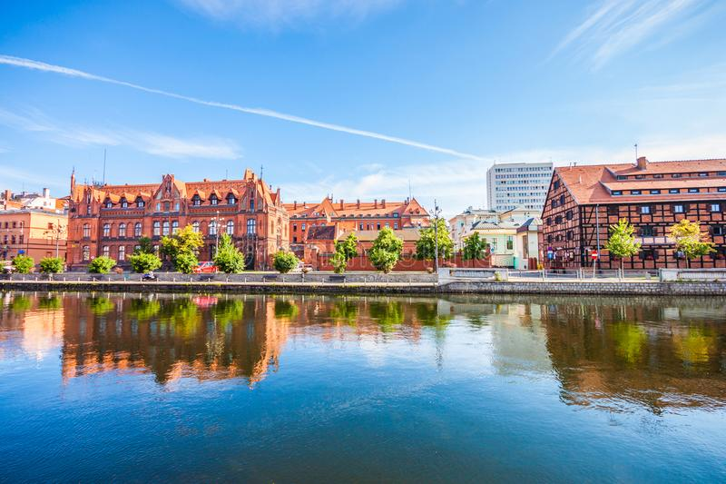 Old Town and granaries by the Brda River. Bydgoszcz royalty free stock photos