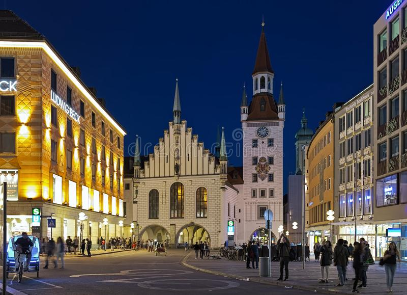 Old Town Hall of Munich in dusk, Germany stock image