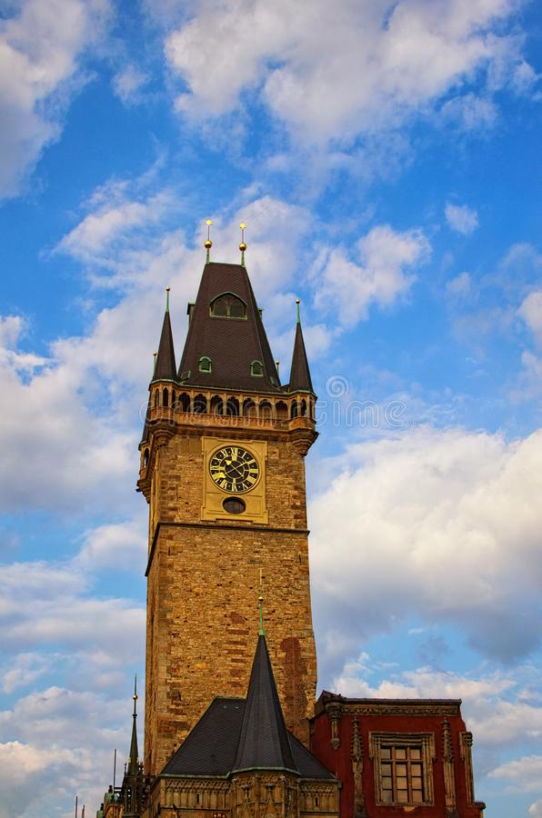 Old Town Hall on a background of blue sky with white clouds. Old Town Square, Prague, Czech Republic royalty free stock images