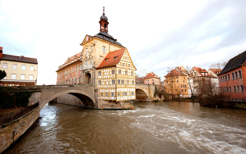 The Old Town Hall in Bamberg(Germany). The Old Town Hall (1386) of Bamberg(Germany) was built in the middle of the Regnitz river, accessible by two bridges . The royalty free stock images
