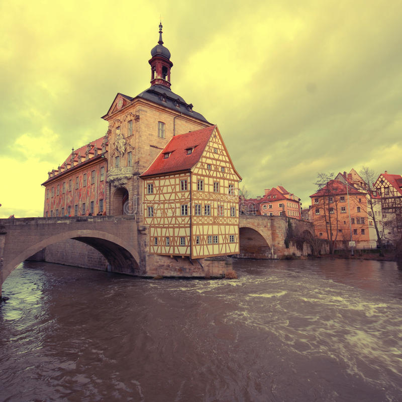 The Old Town Hall of Bamberg(Germany). The Old Town Hall (1386) of Bamberg(Germany) was built in the middle of the Regnitz river, accessible by two bridges . The royalty free stock photography