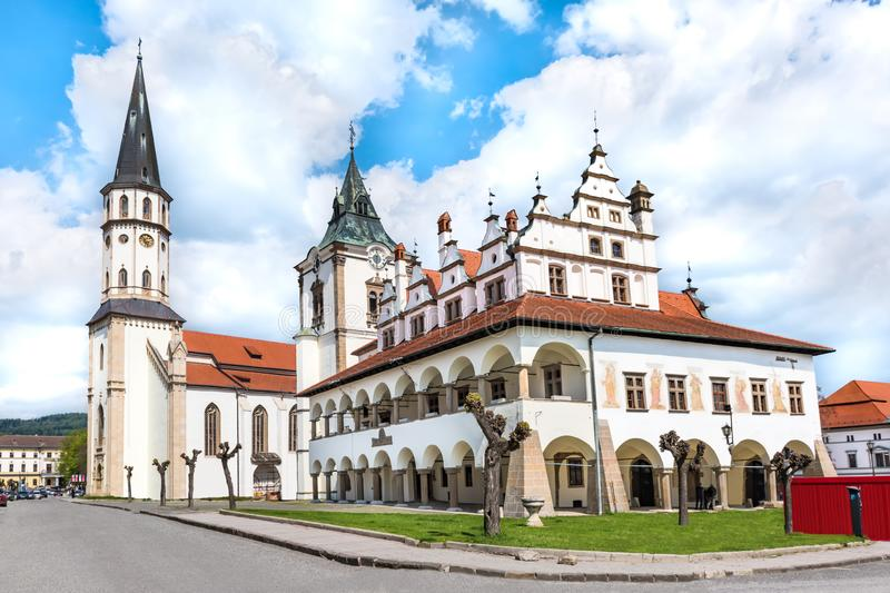 Old Town hall and Basilica of St. James in background on Master Paul's Square in Levoca - UNESCO SLOVAKIA. Old Town hall and Basilica of St. James in stock photography