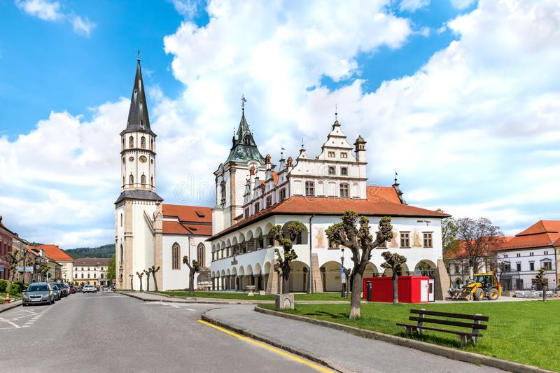 Old Town hall and Basilica of St. James in background on Master Paul's Square in Levoca - UNESCO SLOVAKIA. Old Town hall and Basilica of St. James in stock photos