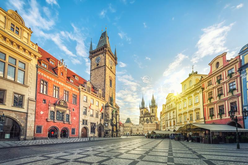 Old Town Hall building with clock tower in Prague stock photography