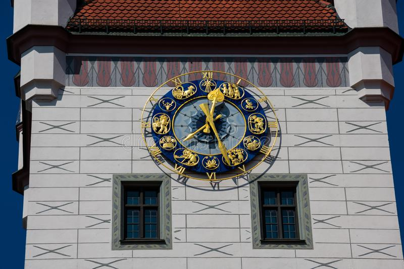 Old Town Hall clock tower Altes Rathaus. A neo-gothic style building. Munich, Germany stock photo