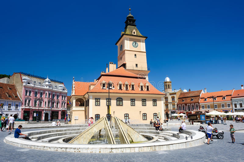 The old town hall and the council square, Brasov stock image