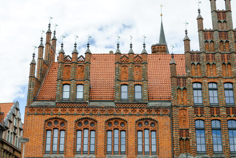 Old Town Hall, Hannover, Germany. Pinnacle gables at the Old Town Hall, Hannover, Lower Saxony, Germany, Europe stock photos