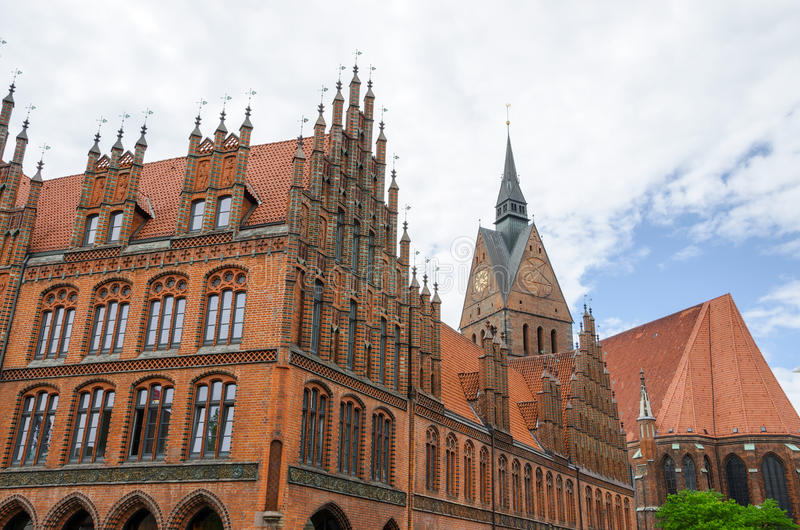 Old Town Hall, Hannover, Germany. Pinnacle gables at the Old Town Hall, Hannover, Lower Saxony, Germany, Europe royalty free stock photos