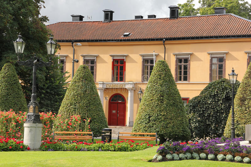 The old Town hall. Norrkoping. Sweden. The old Town Hall ( Gamla Stadhuset), facade over Carl Johans park. Norrkoping. Sweden royalty free stock image