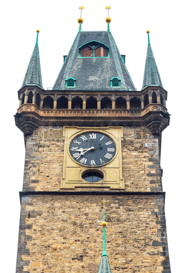 Download Old Town Hall In Prague On White Isolated Background Stock Photo - Image of medieval, tower: 28918856