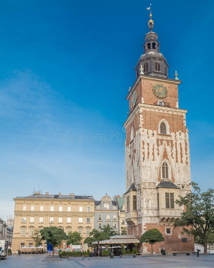 Old Town Hall Tower and Rynek Glowny in Krakow royalty free stock photo