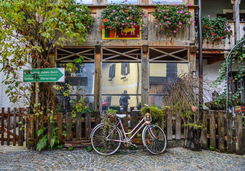 Old town of Hallstatt, Austria. Hallstatt, Austria - Oct 15, 2018. Old town of Hallstatt, Austria. Hallstatt is a charming lakeside village in the Alps royalty free stock image