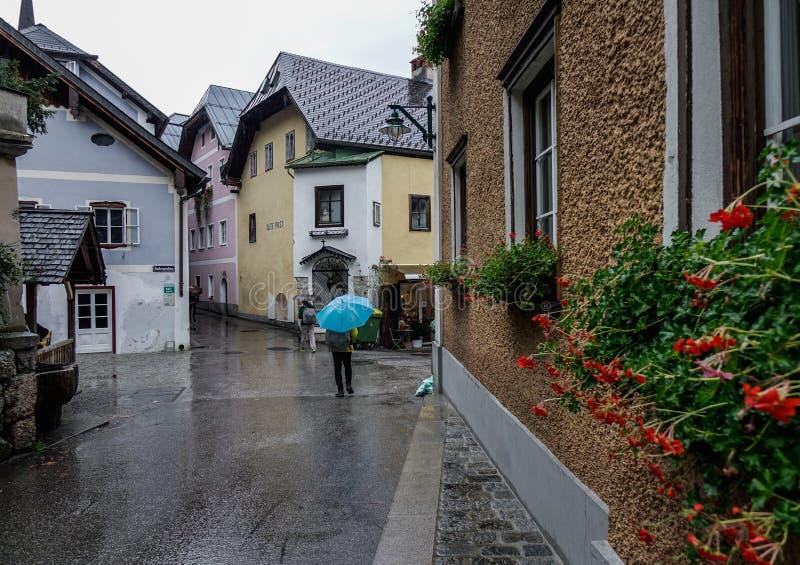 Old town of Hallstatt, Austria. Hallstatt, Austria - Oct 15, 2018. Old town of Hallstatt, Austria. Hallstatt is a charming lakeside village in the Alps royalty free stock photos