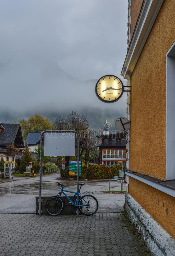 Old town of Hallstatt, Austria. Hallstatt, Austria - Oct 15, 2018. Old town of Hallstatt, Austria. Hallstatt is a charming lakeside village in the Alps stock photos