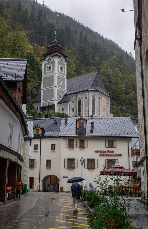 Old town of Hallstatt, Austria. Hallstatt, Austria - Oct 15, 2018. Old town of Hallstatt, Austria. Hallstatt is a charming lakeside village in the Alps stock photography