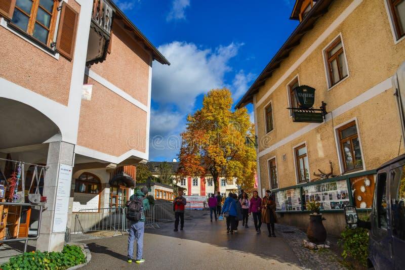 Old town of Hallstatt, Austria. Hallstatt, Austria - Oct 15, 2018. Old town of Hallstatt, Austria. Hallstatt is a charming lakeside village in the Alps stock image