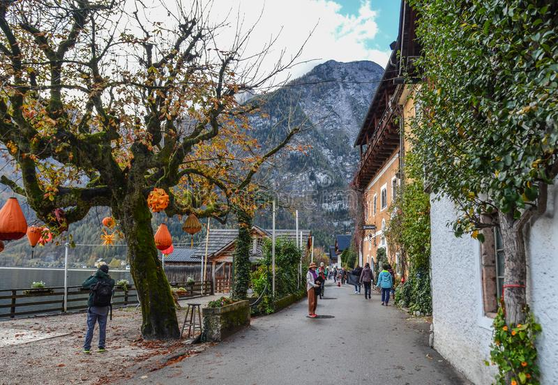 Old town of Hallstatt, Austria. Hallstatt, Austria - Oct 15, 2018. Old town of Hallstatt, Austria. Hallstatt is a charming lakeside village in the Alps stock photo