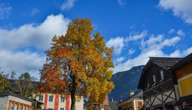 Old town of Hallstatt, Austria. Hallstatt, Austria - Oct 15, 2018. Old town of Hallstatt, Austria. Hallstatt is a charming lakeside village in the Alps royalty free stock photography