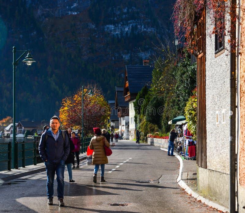 Old town of Hallstatt, Austria. Hallstatt, Austria - Oct 15, 2018. Old town of Hallstatt, Austria. Hallstatt is a charming lakeside village in the Alps royalty free stock images