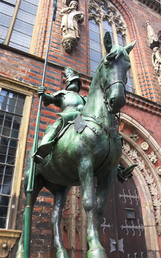 Bremen - herold at the townhall - I -. The Old Town is the historical heart of the city of Bremen. It can be divided into the city centre, the Schnoorviertel in royalty free stock photo