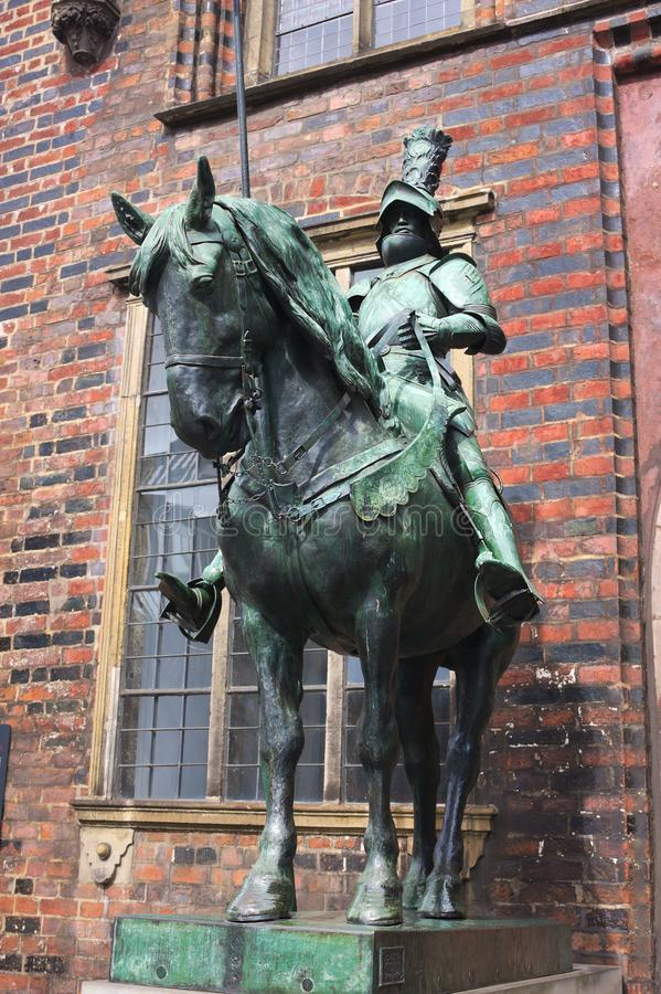 Bremen - herold at the townhall - III -. The Old Town is the historical heart of the city of Bremen. It can be divided into the city centre, the Schnoorviertel stock photos