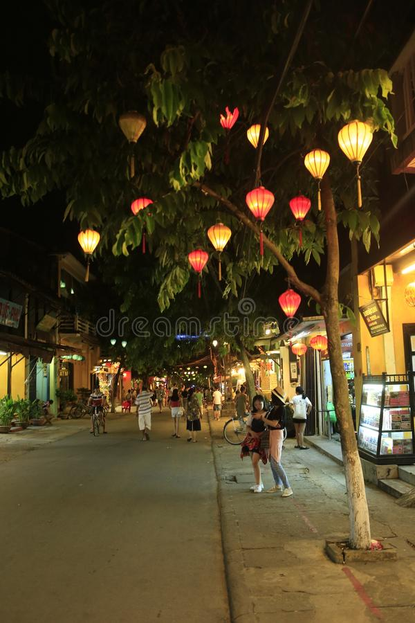 Old town of Hoi An in Vietnam by night royalty free stock photo