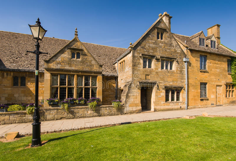 Old town house. On Broadway high street. Cotswolds, Worcestershire, UK royalty free stock image