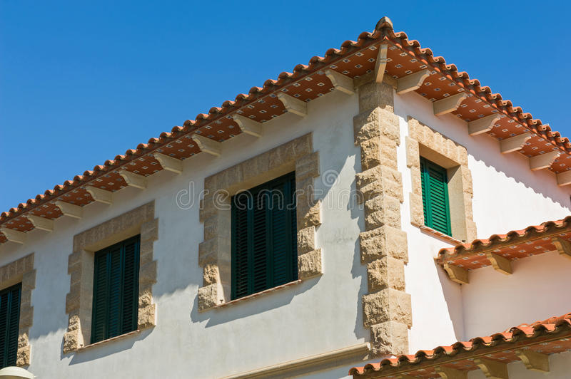 Old town house. Details of an old town house with green shutters royalty free stock image