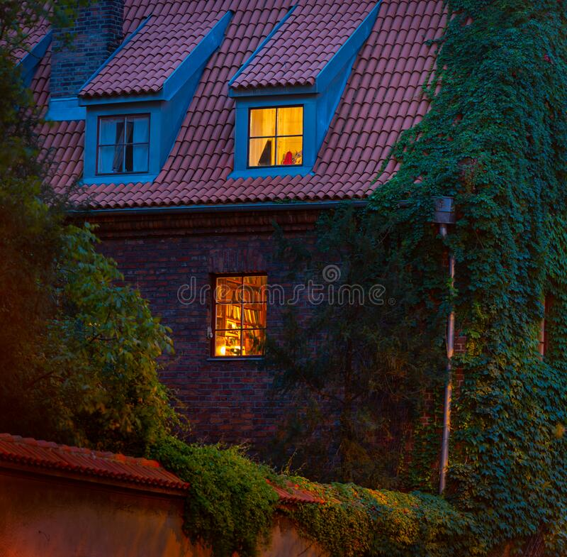 Old town house in Dresden Germany at night, Europe. Old town house in Dresden, Germany at night, Europe. Warm light from windows royalty free stock photos