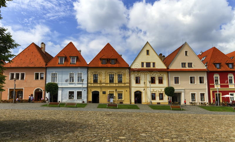 Old town houses in Bardejov, Slovakia stock photos