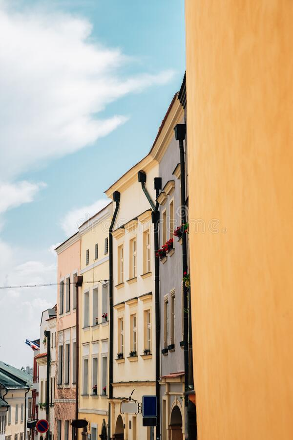 Old town houses in Olomouc, Czech Republic. Europe stock photo