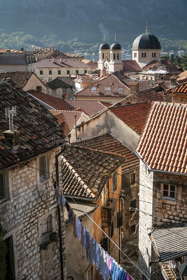 Old town houses view of kotor in montenegro stock images