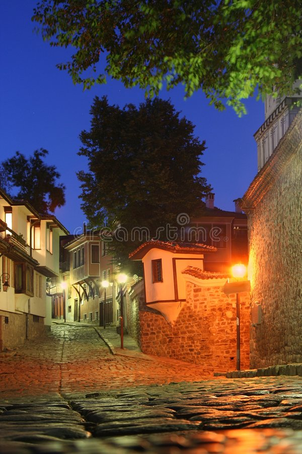 Free Old Town In The Night Royalty Free Stock Image - 3128556