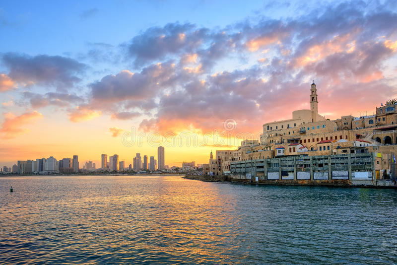 Old town of Jaffa and Tel Aviv city, Israel. Old town of Jaffa and the modern skyline of Tel Aviv city on sunrise, Israel stock photography
