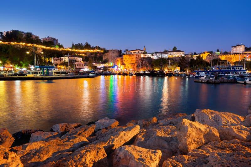 Old town Kaleici in Antalya, Turkey at night royalty free stock images