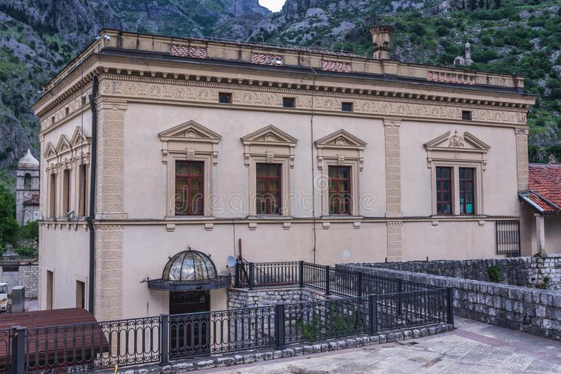 Old Town of Kotor. Building of Napoleon Theater on the Old Town of Kotor in Montenegro royalty free stock photo