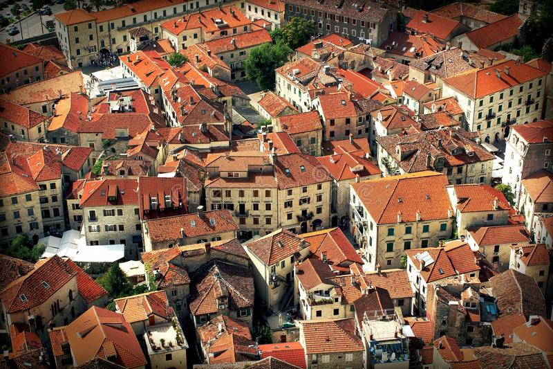 Old Town Kotor, montenegro - houses with red roofs stock photo