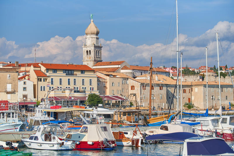 Old town Krk, Mediterranean, Croatia, Europe. Famous touristic Krk town on Krk island, Croatia, Europe. Krk is a Croatian island in the northern Adriatic Sea stock image