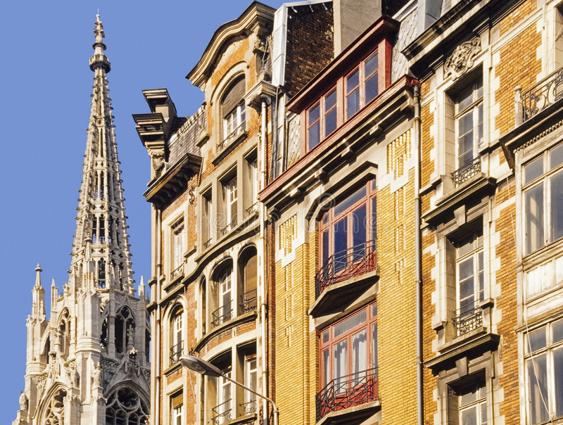 Old town lille. Flemish houses st stevens church royalty free stock photos