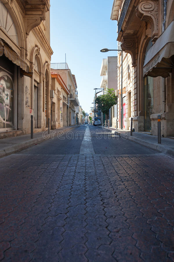 Old town. Limassol Lemesos, Cyprus. Limassol Lemesos, Cyprus - July 17, 2015: Narrow street of an old town royalty free stock photos