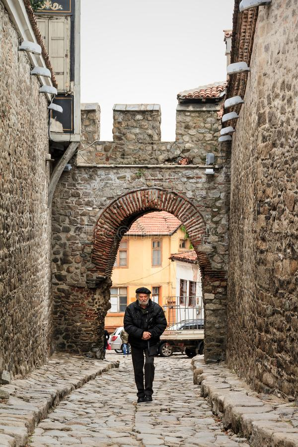 Old town local Plovdiv stock photography