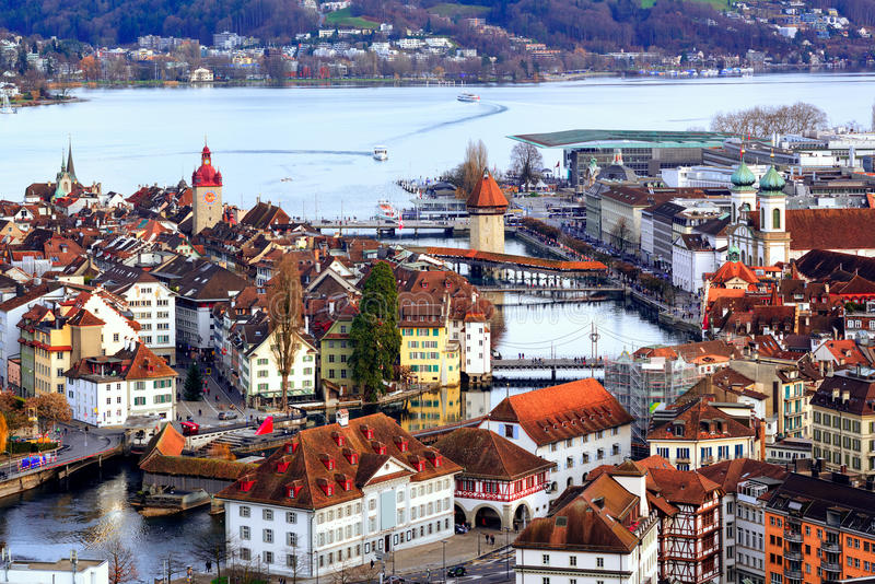 Old town of Lucerne with Chapel Bridge and Water tower, Switzerland stock photography