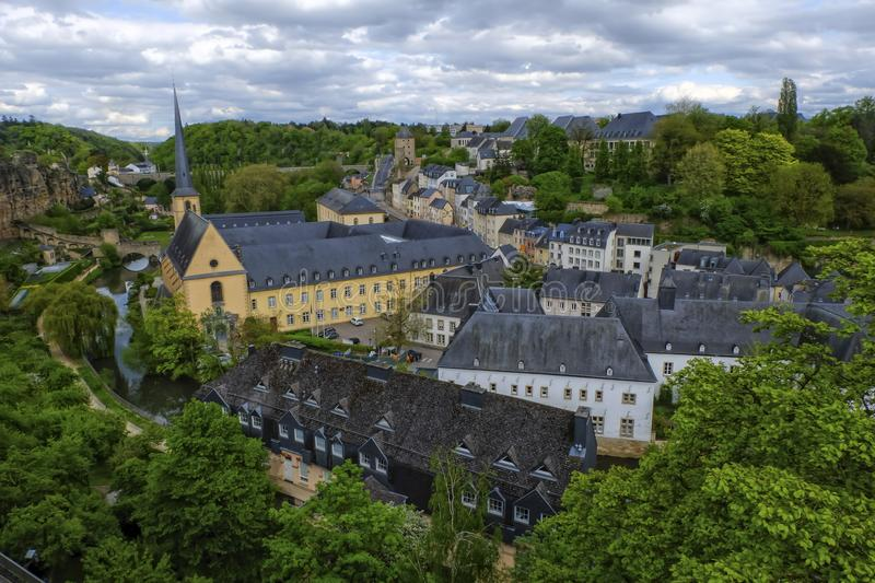 Old Town Luxembourg City from top view. By day stock photo