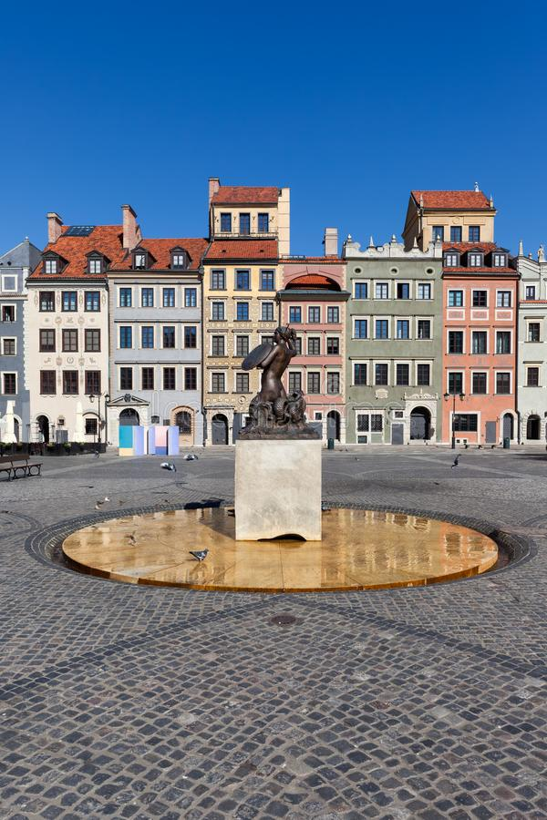 Old Town Market Place in Warsaw. Old Town Market Place with Mermaid statue in city of Warsaw in Poland royalty free stock images