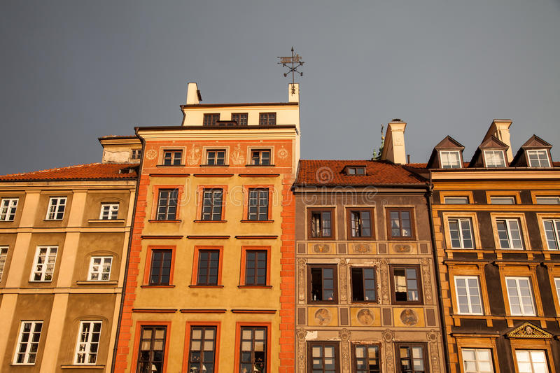 Old Town Market Place, Warsaw, Poland. Row of buildings in the Old Town Market Place, Warsaw, Poland stock photo