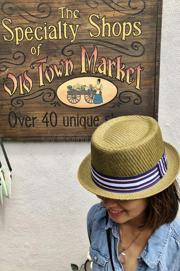 Old Town Market Shopping Sign royalty free stock photo
