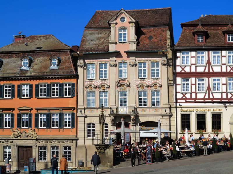 Old town square Schwabisch Hall. The market square with its historic buildings of the old town Schwabisch Hall in Germany. Picture taken in early spring on a stock image