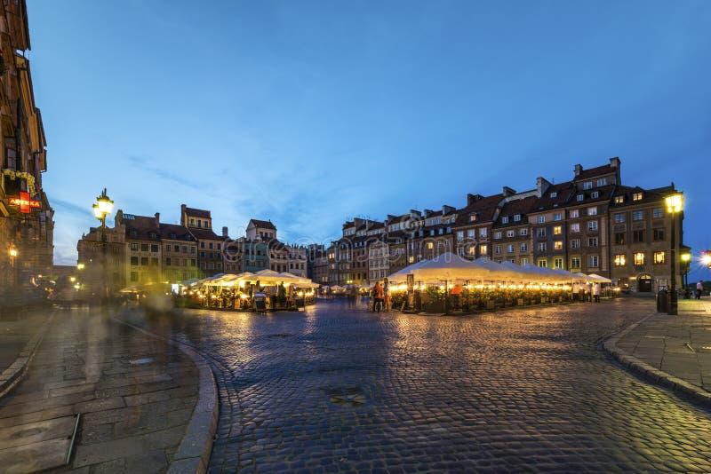 Old Town Market Square in Warsaw. Poland at night / Rynek Starego Miasta stock photo