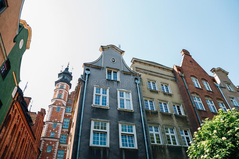 Old town medieval buildings in Gdansk, Poland stock photos