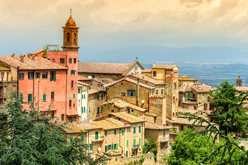Old town Montepulciano. With dramatic sky in Tuscany, Italy stock photos